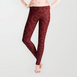 Bright Burgundy Red Copper Leaf Pattern Leggings