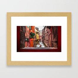 Frozen canal Framed Art Print
