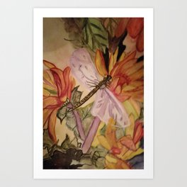 Dragonfly in the flowers Art Print