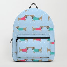 Cute dogs in love with dots in blue background Backpack