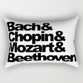 Bach and Chopin and Mozart and Beethoven, sticker, circle, white Rectangular Pillow