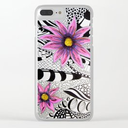 Zentangle Flowers Clear iPhone Case