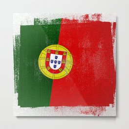 Portuguese Distressed Halftone Denim Flag Metal Print
