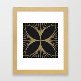 Diamond Series Floral Cross Gold on Charcoal Framed Art Print