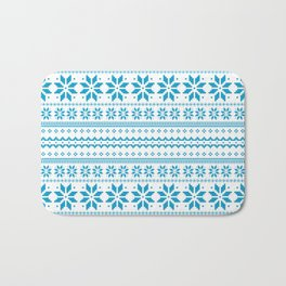 Blue Scandinavian Christmas Pattern Bath Mat
