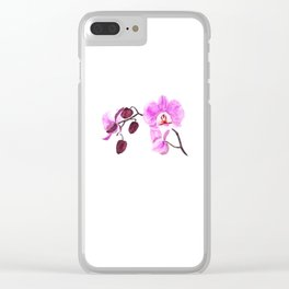 pink orchid flower watercolor painting Clear iPhone Case