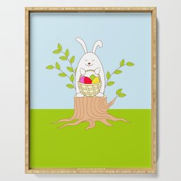 funny rabbit on the stump Serving Tray