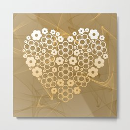 Love Pattern and Brushes Bacground Khaki / Light Brown Metal Print