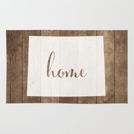 Wyoming is Home - White on Wood Rug