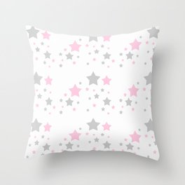 Pink Grey Gray Stars Throw Pillow