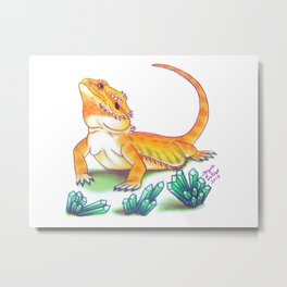 Bearded Dragon - Turquoise Crystals Metal Print