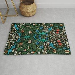 William Morris Tulips, Blue Columbine, Orchids, & Sunflowers Textile Flower Print Rug