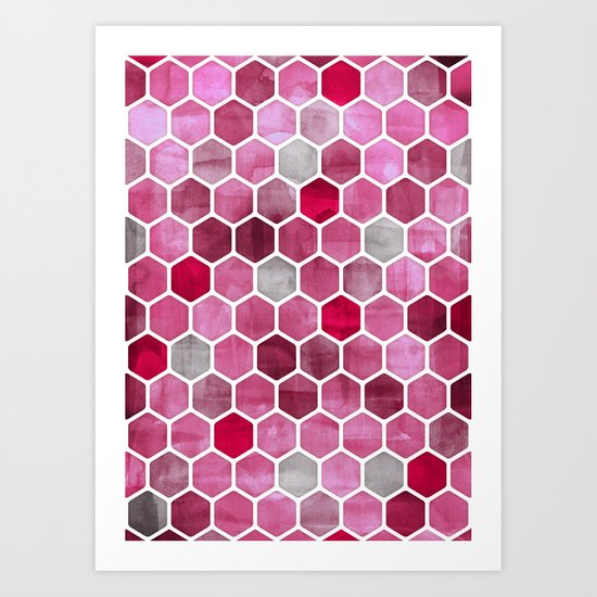 Pink Ink - watercolor hexagon pattern Art Print
