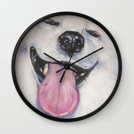 SAMOYED dog art portrait from an original painting by L.A.Shepard Wall Clock