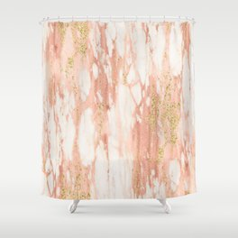 Rose Gold Marble - Rose Gold Yellow Gold Shimmery Metallic Marble Shower Curtain