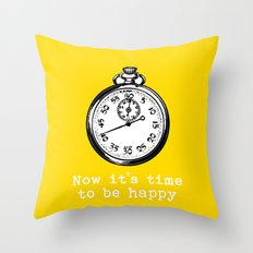 Time to be happy vintage inspired  Throw Pillow