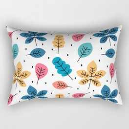 cute colorful autumn fall pattern background with leaves Rectangular Pillow