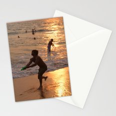 Frisbee Thrower on Varkala Beach at Sunset Stationery Cards
