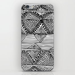 Abstract black and white digitised hand drawing art iPhone Skin