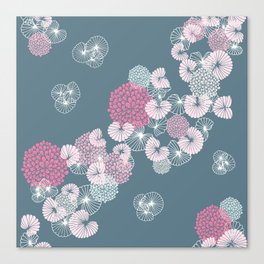 Floral Seamless Pattern on Blue Canvas Print