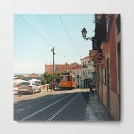Lisbon yellow tram, Portugal Analog 6x6 Kodal Ektar 100 (RR 167) Metal Print