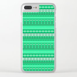 Modern Native Navajo Ethnic Tribal V.02 - Sea-foam Green Color Clear iPhone Case