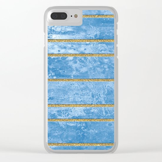 Abstract Painting with Golden Stripes - Blue Clear iPhone Case