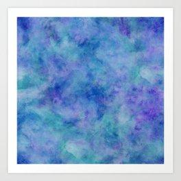 Bright Blue Watercolor Texture Art Print