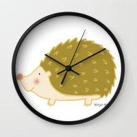 hedgehog Wall Clocks featuring Hedgehog by Maria Ángeles Aznar Medina (Nenya-Art)