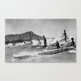 Vintage Surfing Hawaii Canvas Print