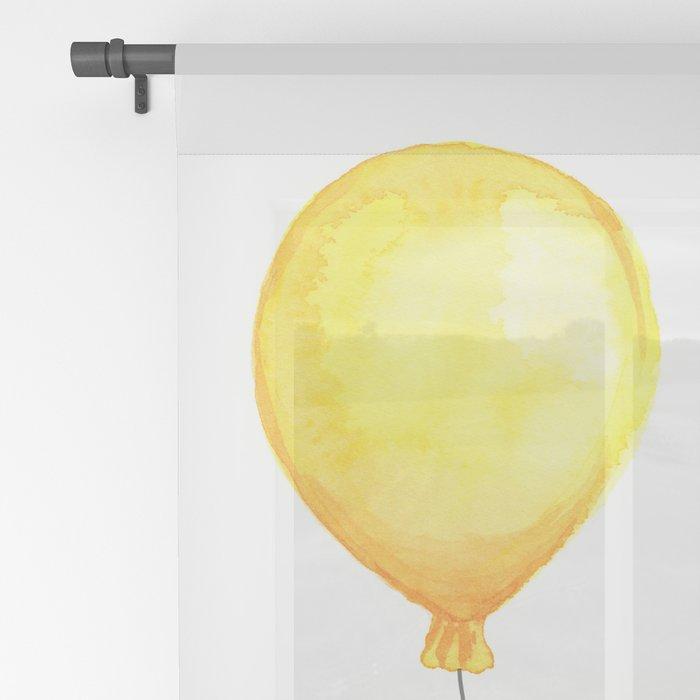 Elephant Watercolor Yellow Balloon Whimsical Baby Animals Sheer Curtain