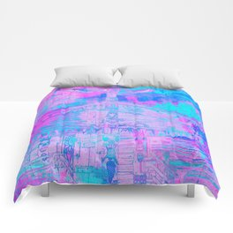 Totem Cabin Abstract - Hot Pink & Turquoise Comforters