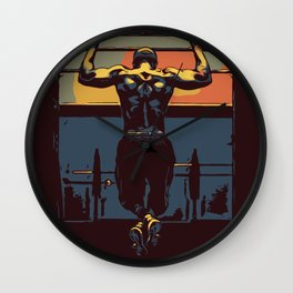 Pull ups in the gym Wall Clock