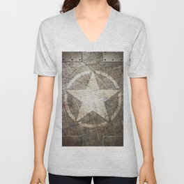 Army Star on Distressed Riveted Metal Door Unisex V-Neck