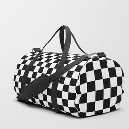 Black Checkerboard Pattern Duffle Bag