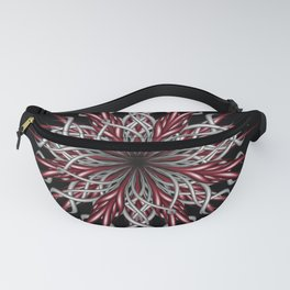 Mandala silver and red Fanny Pack