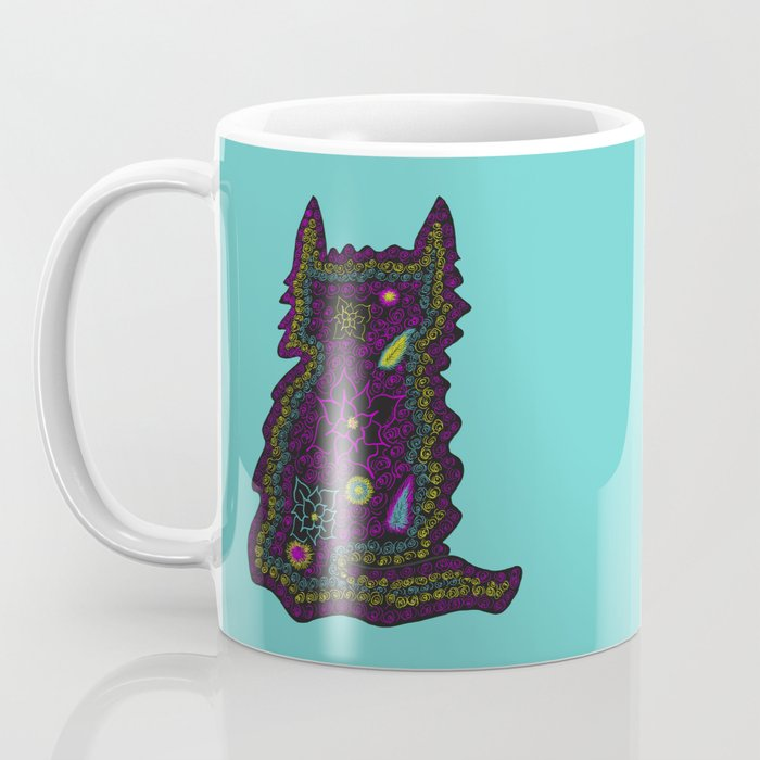 Black Cat With Roses Coffee Mug