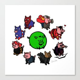 Pig-vengers Assemble! (White) Canvas Print