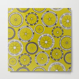 bike wheels chartreuse Metal Print
