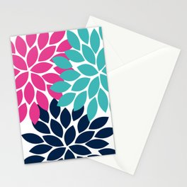Bold Colorful Hot Pink Turquoise Navy Dahlia Flower Burst Petals Stationery Cards
