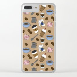 Cafe Pattern Clear iPhone Case
