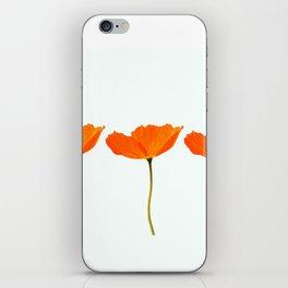 Three Orange Poppy Flowers White Background #decor #society6 #buyart iPhone Skin