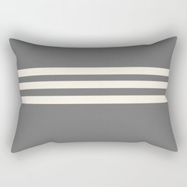 Grey Solid with Treble Ivory Stripes Minimalist Color Block Pattern Rectangular Pillow