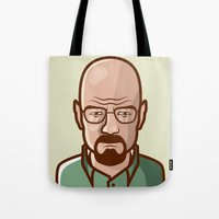 walter white Tote Bags featuring Walter White by Sherif Adel