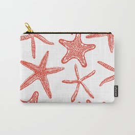 Sea stars hand drawn pattern in red Carry-All Pouch