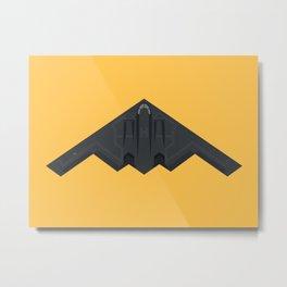 B2 Stealth Bomber Jet Aircraft - Yellow Metal Print