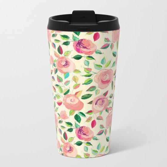 Pastel Roses in Blush Pink and Cream  Metal Travel Mug