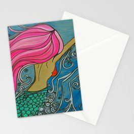 Fuchsia Mermaid Ocean Art by Lauren Tannehill Art Stationery Cards