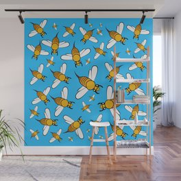 Bees pattern in blue Wall Mural