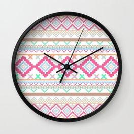 Pink teal Aztec Tribal Diamond geometric Pattern Wall Clock